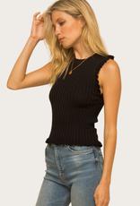 HEM & THREAD Sleeveless Frill Top Black