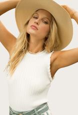HEM & THREAD Sleeveless Frill Top White