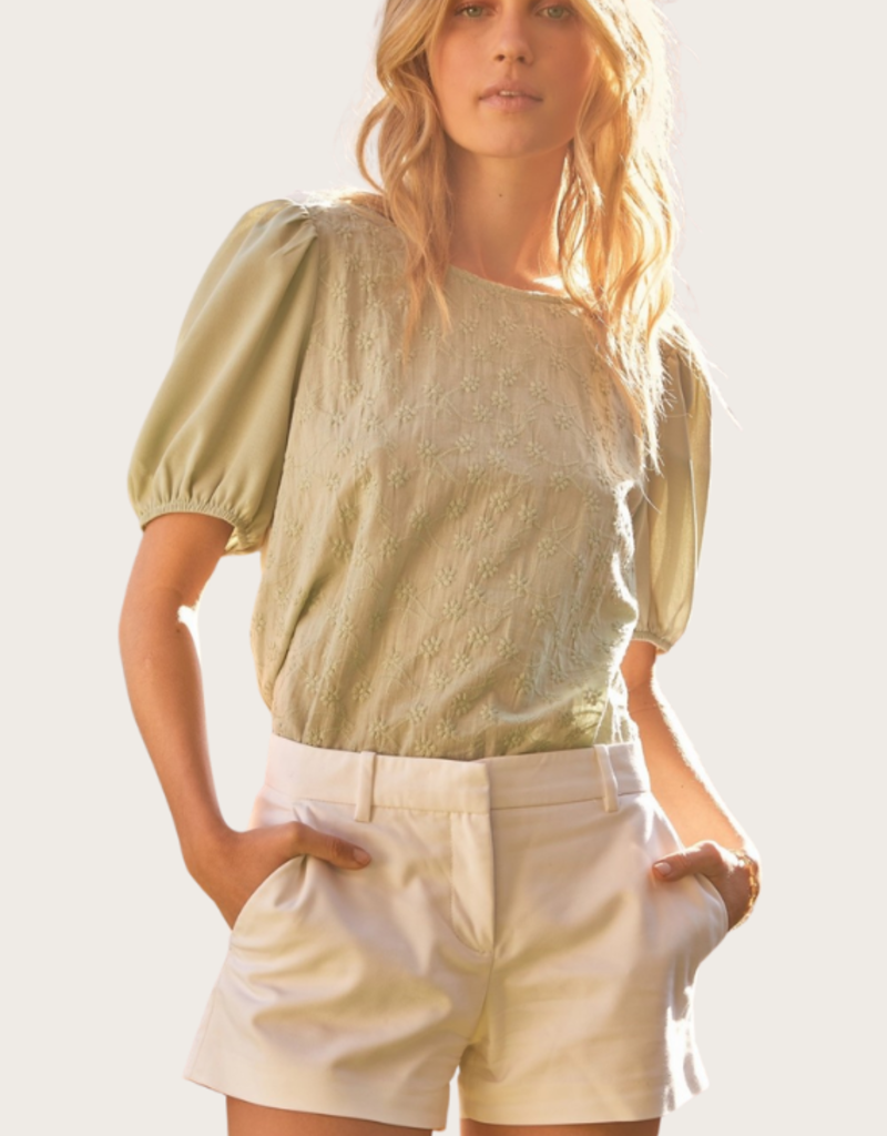 ANDREE BY UNIT Puffed Sleeve Eyelet Top Sage