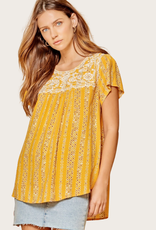 ANDREE BY UNIT Flowy Marigold Top with Embroidery