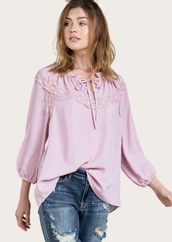 DAVI&DANI Lace Trim Top with Front Ties