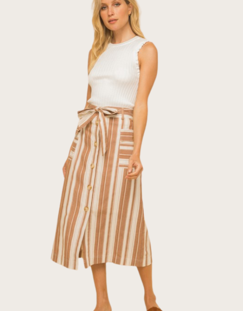 HEM & THREAD Striped Button Down Skirt