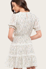 BLU PEPPER Puff Sleeve Floral Tiered Dress Ivory