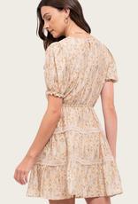 BLU PEPPER Puff Sleeve Floral Tiered Dress Blush