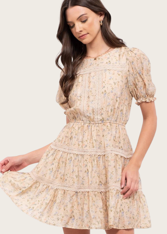 BLU PEPPER Puff Sleeve Floral Tiered Dress Blush