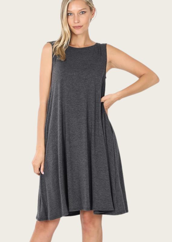 ZENANA A-Line Tank Dress Ash Grey