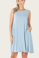 ZENANA A-Line Tank Dress Blue Grey