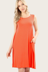 ZENANA A-Line Tank Dress Copper