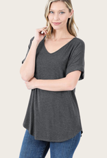 ZENANA Short Cuffed Sleeve Top Charcoal
