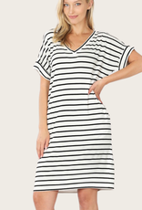 ZENANA Striped Short Sleeve Dress With Pockets Ivory/Black