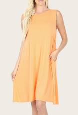 ZENANA A-Line Tank Dress Peach