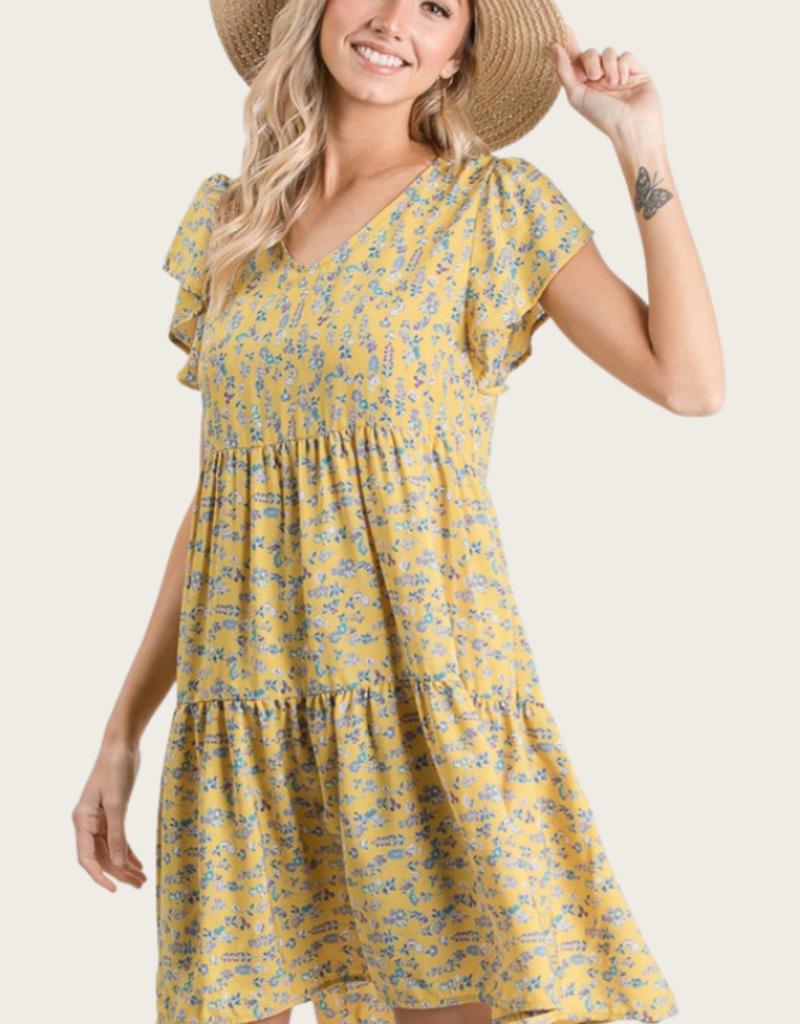 HAILEY & Co Floral Print Dress Marigold