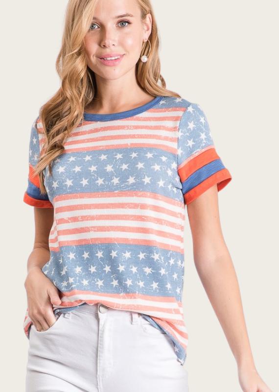 HAILEY & Co American Flag Printed Top