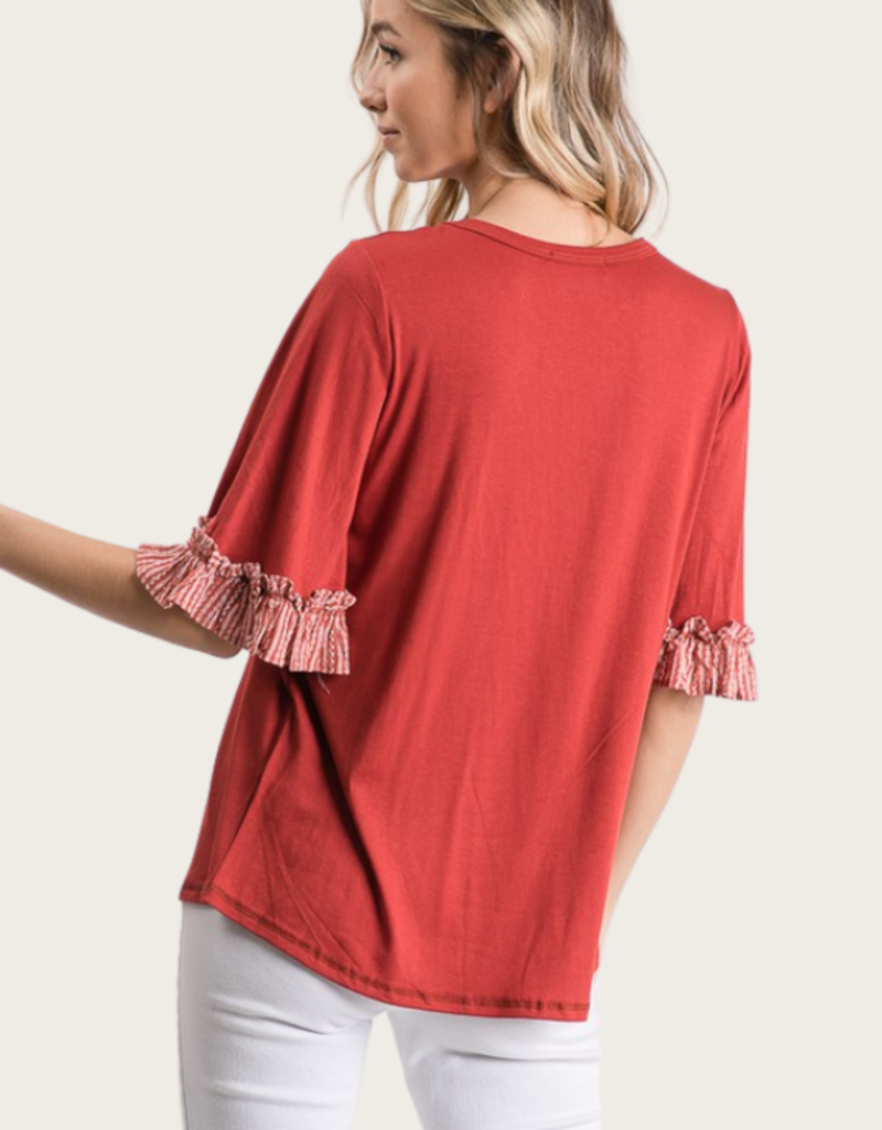 HAILEY & Co Knit Top With Woven Ruffles