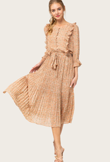 ENTRO Taupe Floral Dress
