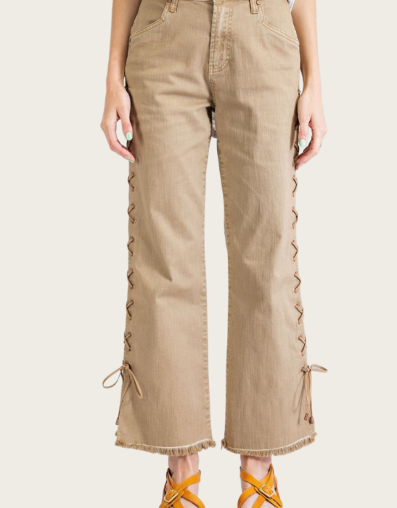 Camel Laced Up Jeans