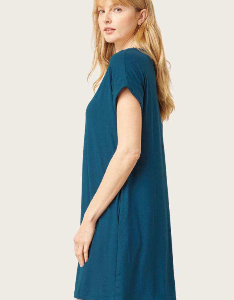 ENTRO Teal SS V-Neck Dress