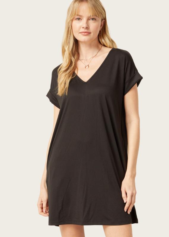 ENTRO Black SS V-Neck Dress
