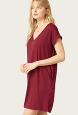 ENTRO Wine SS V-Neck Dress