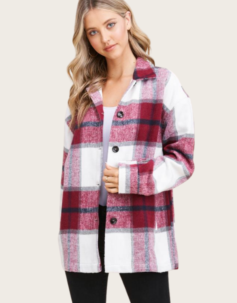STACCATO Burgundy Button Down Jacket