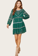 ANDREE BY UNIT Hunter Green Embroidered Dress