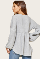 ANDREE BY UNIT Grey Balloon Sleeve with Embroidery Top