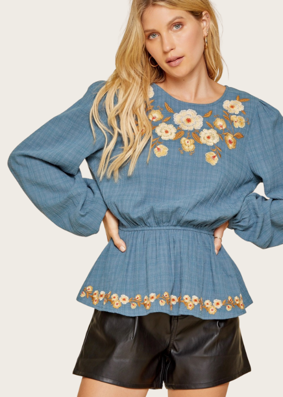 ANDREE BY UNIT Teal Embroidered Top