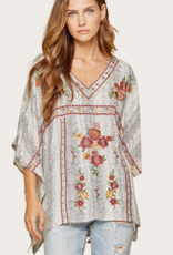ANDREE BY UNIT Grey Floral Embroidered Top