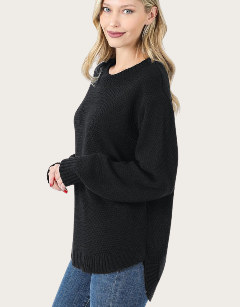 ZENANA Black Long Sleeve Round Neck Sweater