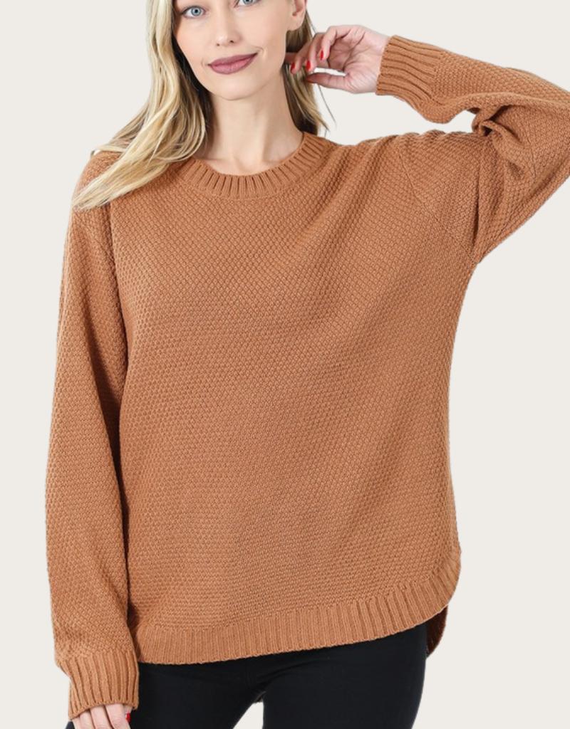 ZENANA Deep Camel Long Sleeve Round Neck Sweater