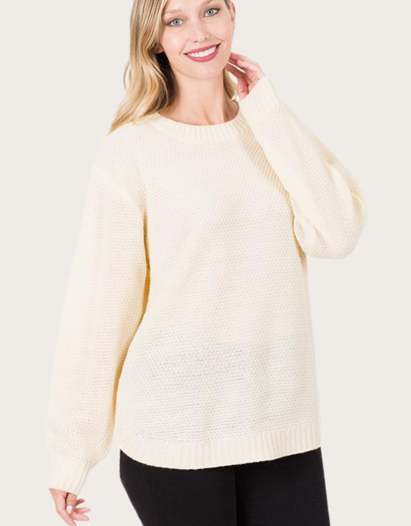 ZENANA Ivory Long Sleeve Round Neck Sweater