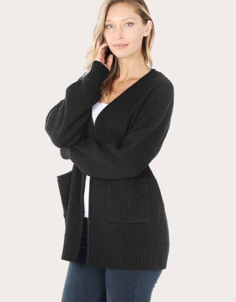 ZENANA Black Cardigan With Pockets