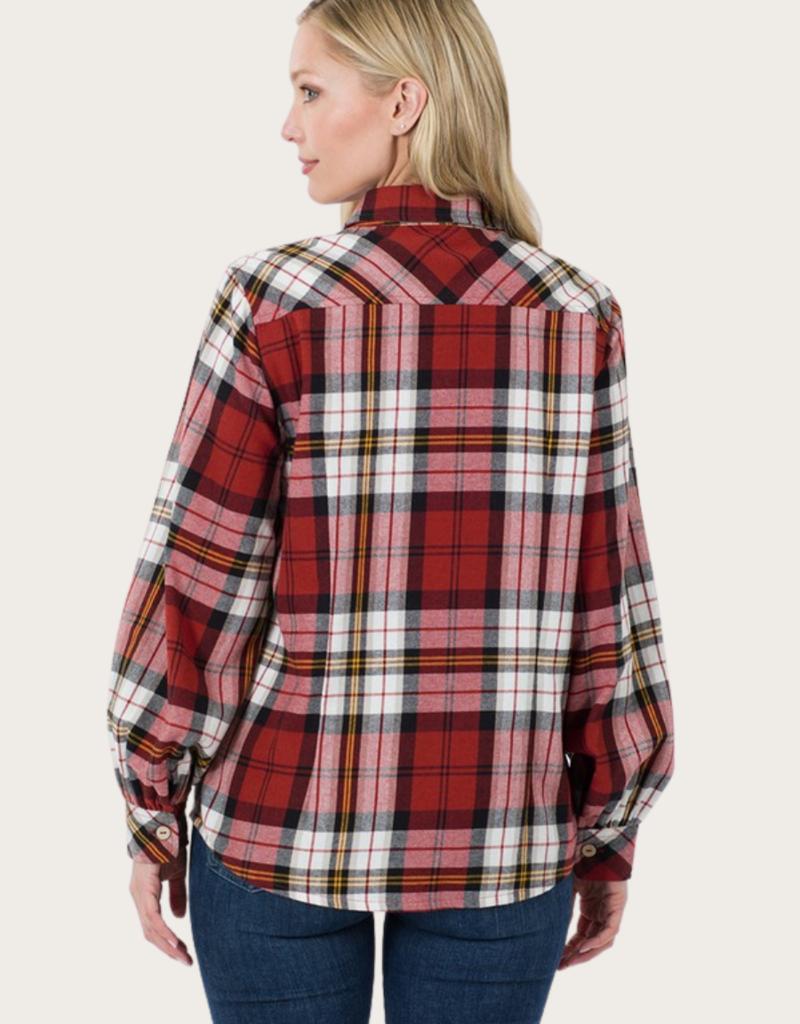 ZENANA Cotton Plaid Long Sleeve Shirt