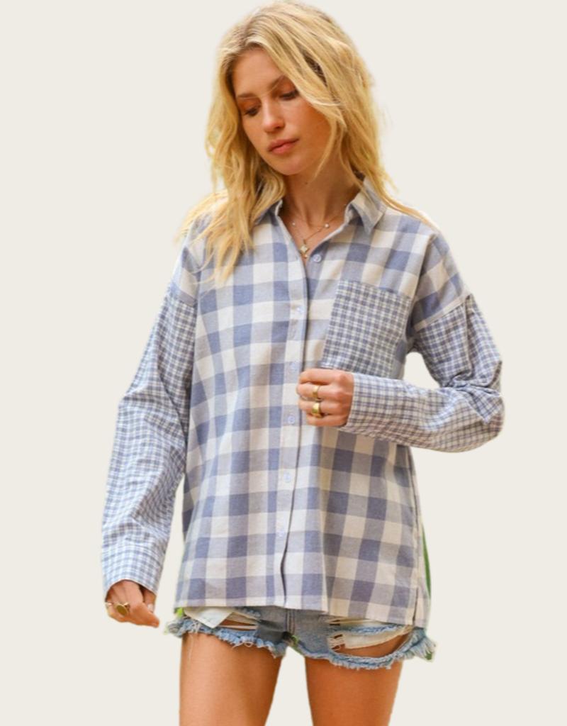 HEM & THREAD Mixed Plaid Button Down Shirt