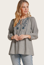 HEM & THREAD Gingham Babydoll Peasant Top with Embroidery
