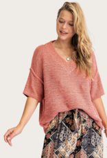 Coral SS V Neck Knitted Top