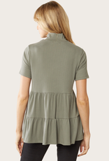 ENTRO SS Olive Layered Ribbed Top