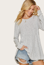 ANDREE BY UNIT Ribbed Long Sleeve Babydoll Top