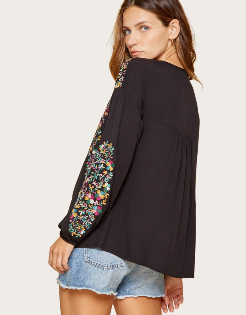 ANDREE BY UNIT Floral Embroidered Drop Shoulder Blouse