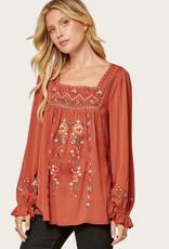 ANDREE BY UNIT Square Neck Embroidered Peasant Blouse Rust