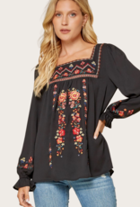 ANDREE BY UNIT Square Neck Embroidered Peasant Blouse Black