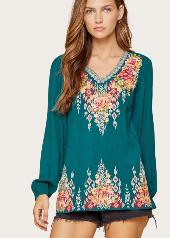 ANDREE BY UNIT V-Neck Embroidred Teal Long Sleeve Top