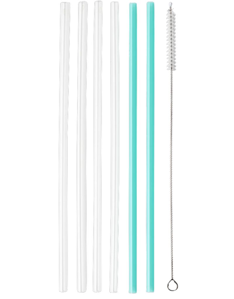 SWIG Clear & Aqua Resable Straw Set (Tall)