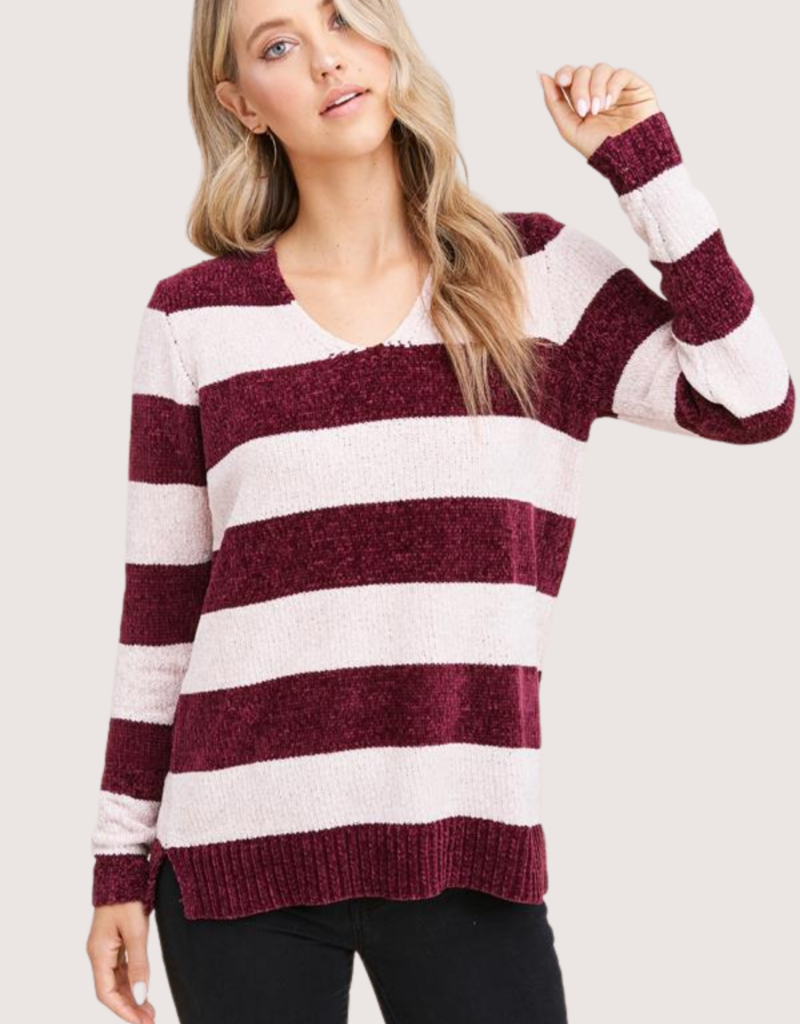 STACCATO V-Neck Maroon Stripe Long Sleeve Sweater