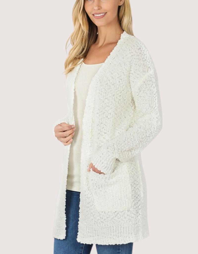 ZENANA Ivory LS Popcorn Sweater With Pockets