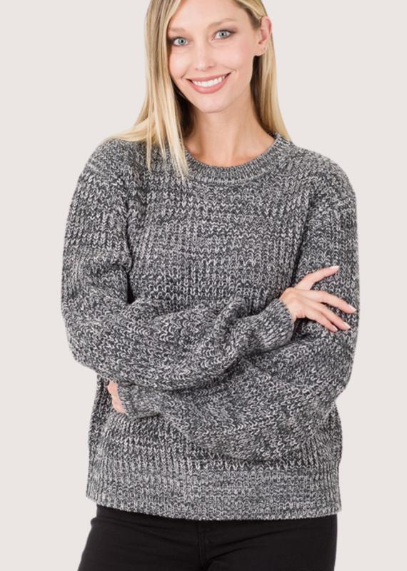 ZENANA Charcoal Round Neck Sweater