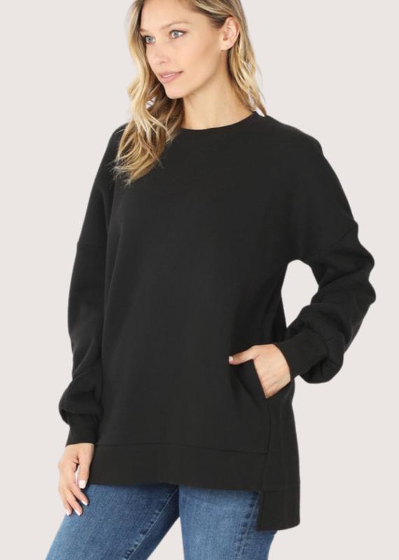 ZENANA Relaxed Fit Roundneck Sweatshirt Black