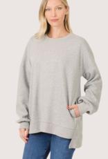 ZENANA Relaxed Fit Roundneck Sweatshirt Heather Grey