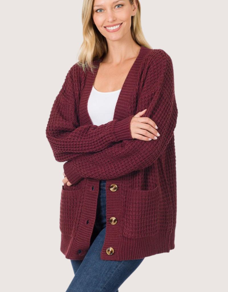 ZENANA Dk Burgundy Knit Cardigan