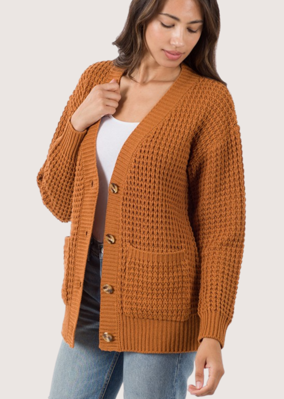 ZENANA Almond Knit Cardigan
